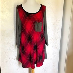 Soft Surroundings Red Plaid & Gray Tunic Top
